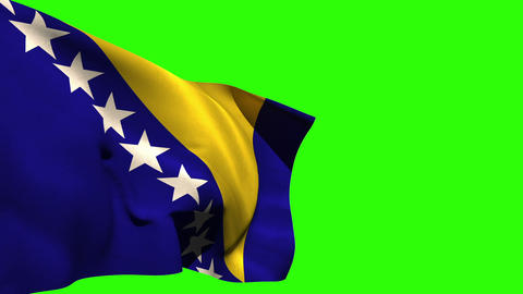 Large bosnia national flag blowing Animation