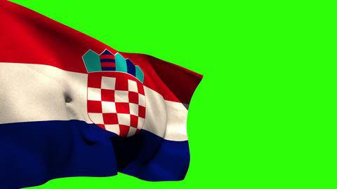 Large croatia national flag blowing Animation