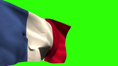 Large france national flag blowing Animation