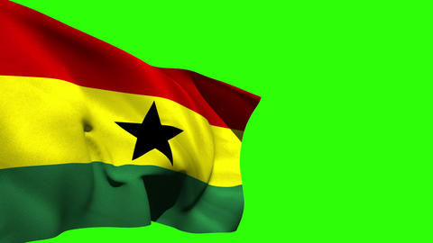 Large ghana national flag blowing Animation