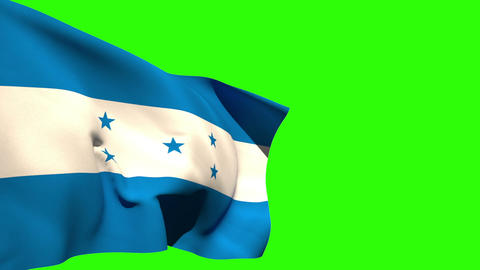 Large honduras national flag blowing Animation