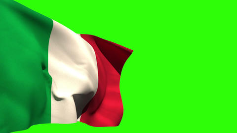 Large italy national flag blowing Animation