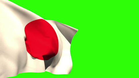 Large japan national flag blowing Animation
