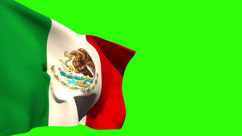 Large mexico national flag blowing Animation