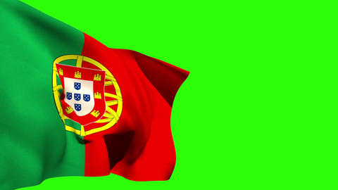 Large portugal national flag blowing Animation