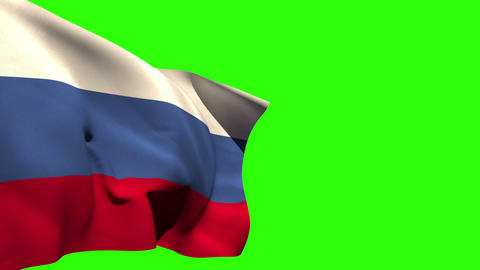 Large russia national flag blowing Animation