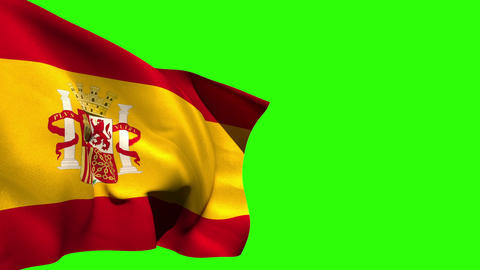 Large spain national flag blowing Animation