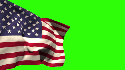 Large usa national flag blowing Animation