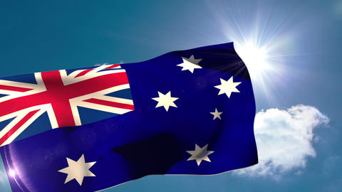 Australia national flag blowing in the breeze Animation