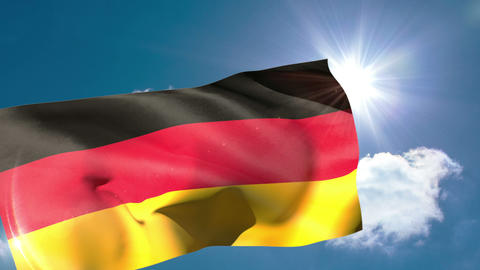 Germany national flag blowing in the breeze Animation