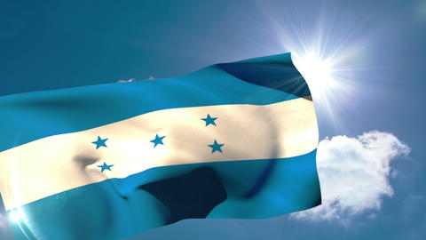 Honduran national flag blowing in the breeze Animation