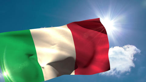 Italy national flag blowing in the breeze Animation