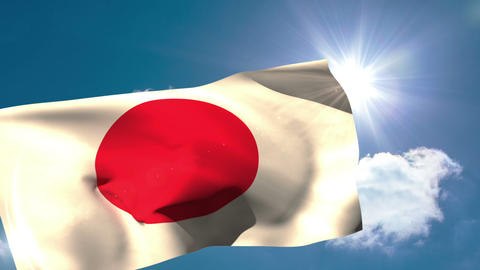 Japan national flag blowing in the breeze Animation
