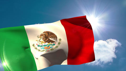 Mexico national flag blowing in the breeze Animation