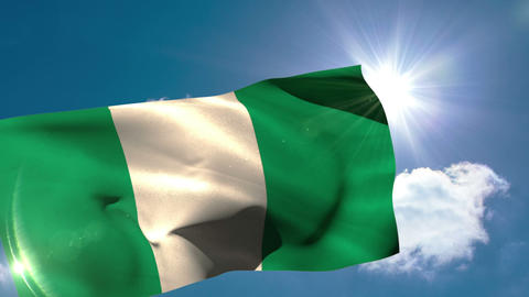 Nigerian national flag blowing in the breeze Animation