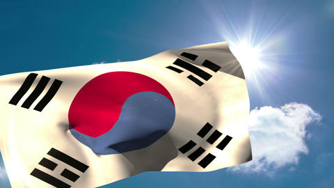 Korea republic national flag blowing in the breeze Animation