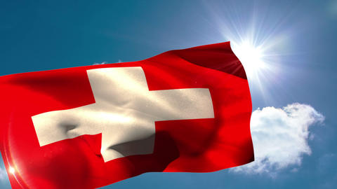 Swiss national flag blowing in the breeze Animation