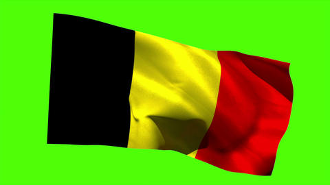 Belgium national flag blowing in the breeze Animation