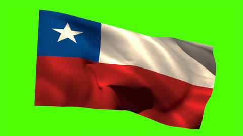 Chile national flag blowing in the breeze Animation