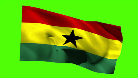 Ghana national flag blowing in the breeze Animation
