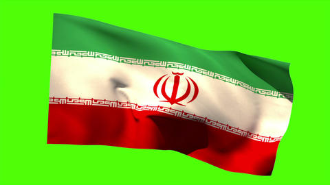 Iran national flag blowing in the breeze Animation