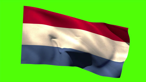Netherlands national flag blowing in the breeze Animation