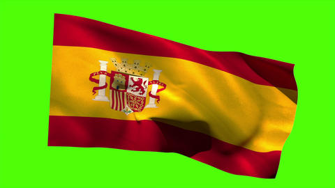 Spain national flag blowing in the breeze Animation