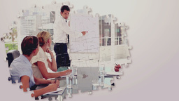 Business montage with meetings and presentations Animation