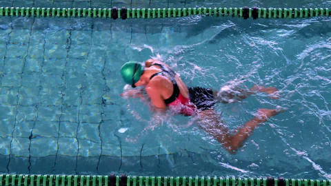 Fit female swimmer doing the breast stroke in the swimming pool Live Action
