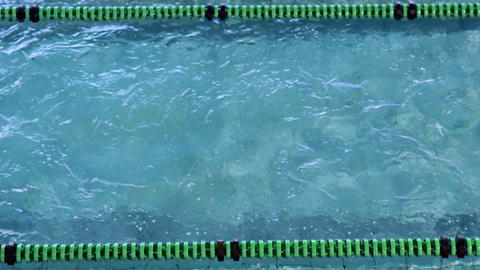 Fit swimmer doing the breast stroke in the swimming pool Live Action