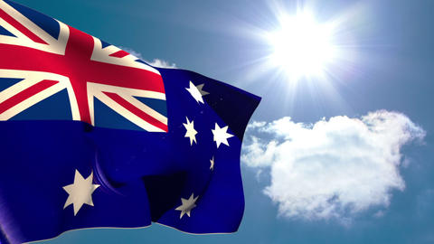 Australia national flag waving Animation
