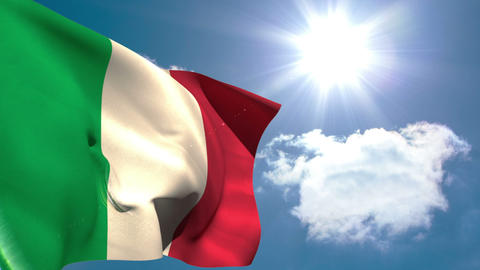 Italy national flag waving Animation