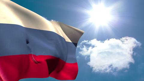 Russia national flag waving Animation