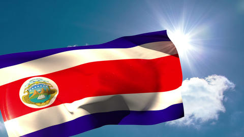 Costa rica national flag waving Animation