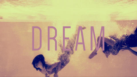 Women in evening gowns diving into pool with dream text Animation