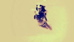 Woman in bikini diving into pool and waving Animation