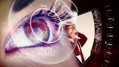 Eye looking at futuristic interface showing music  Animation