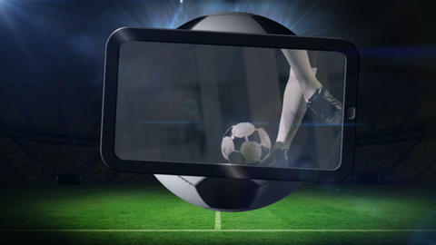 Football montage showing player kicking ball Animation
