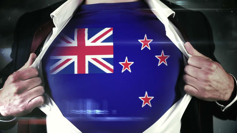 Businessman opening shirt to reveal new zealand flag Footage