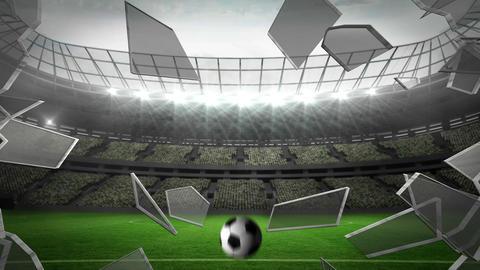 Ball breaking glass into large football stadium Animation