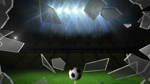 Ball breaking glass into football pitch Animation