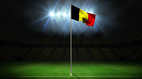 Belgium national flag waving on flagpole Animation