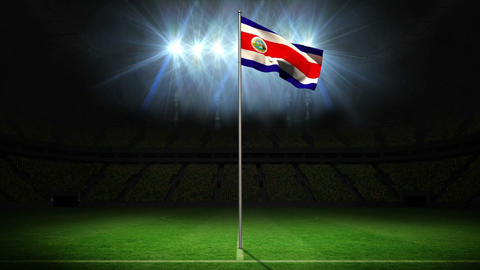 Costa Rica national flag waving on flagpole Animation
