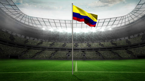 Colombia national flag waving on flagpole Animation