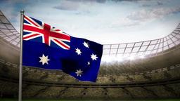 Australia national flag waving on stadium arena Animation