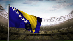 Bosnia and Herzegovina national flag waving on sta Animation