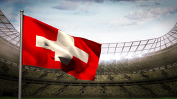Switzerland national flag waving on stadium arena Animation