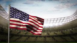 United states of america national flag waving on stadium arena Animation