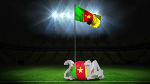 Cameroon national flag waving on football pitch wi Animation
