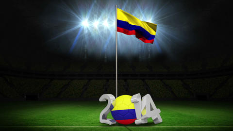 Colombia national flag waving on football pitch with message Animation